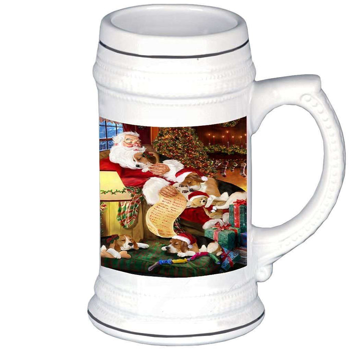 Beagle Dog with Puppies Sleeping with Santa Beer Stein