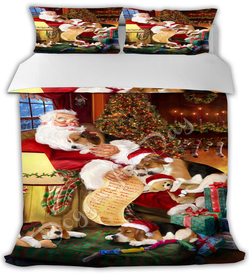 Santa Sleeping with Beagle Dogs Bed Comforter CMFTR49386