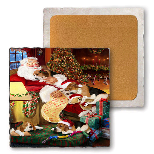 Set of 4 Natural Stone Marble Tile Coasters - Beagles Dog and Puppies Sleeping with Santa MCST48082