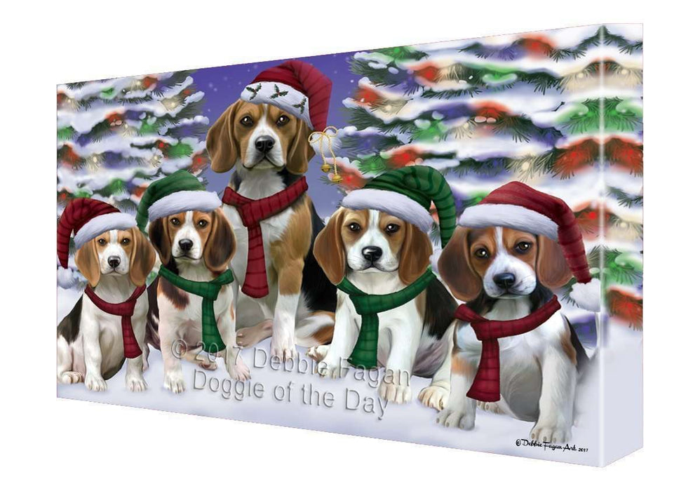 Beagles Dog Christmas Family Portrait in Holiday Scenic Background Canvas Wall Art