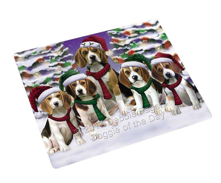"Beagles Dog Christmas Family Portrait In Holiday Scenic Background Magnet Mini (3.5"" x 2"")"