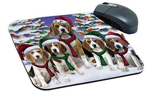 Beagles Dog Christmas Family Portrait in Holiday Scenic Background Mousepad