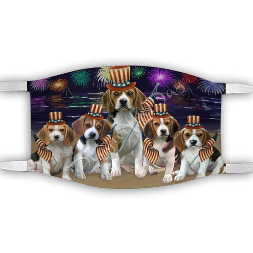 4th of July Independence Day Beagle Dogs Face Mask FM49374