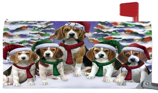 Magnetic Mailbox Cover Beagles Dog Christmas Family Portrait in Holiday Scenic Background MBC48195