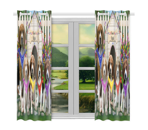 Spring Dog House Beagle Dogs Window Curtain