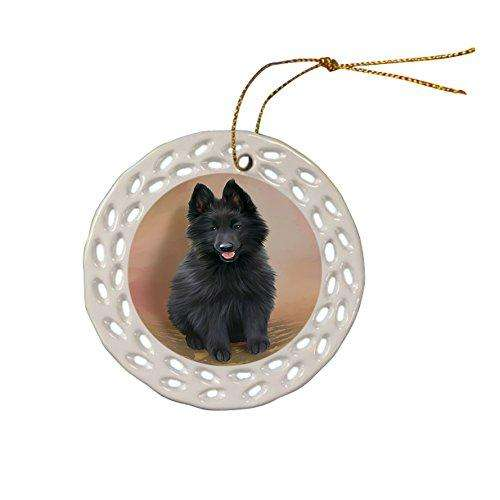 Belgian Shepherd Dog Christmas Doily Ceramic Ornament