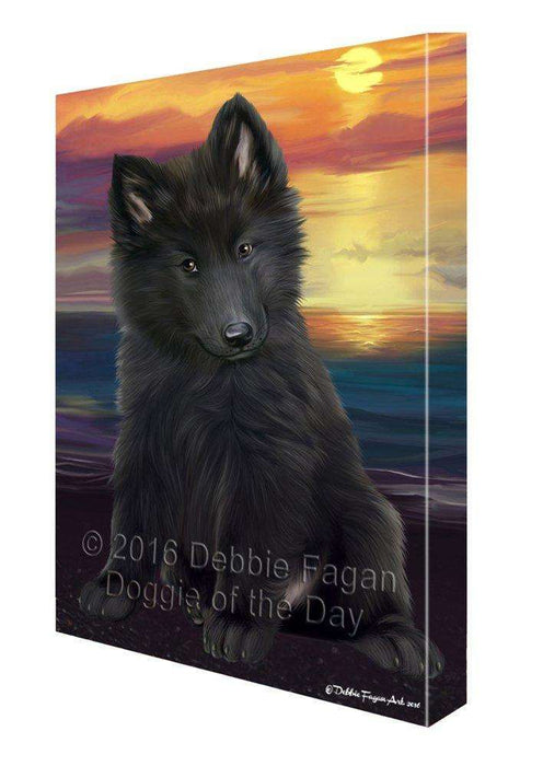 Belgian Shepherd Dog Painting Printed on Canvas Wall Art