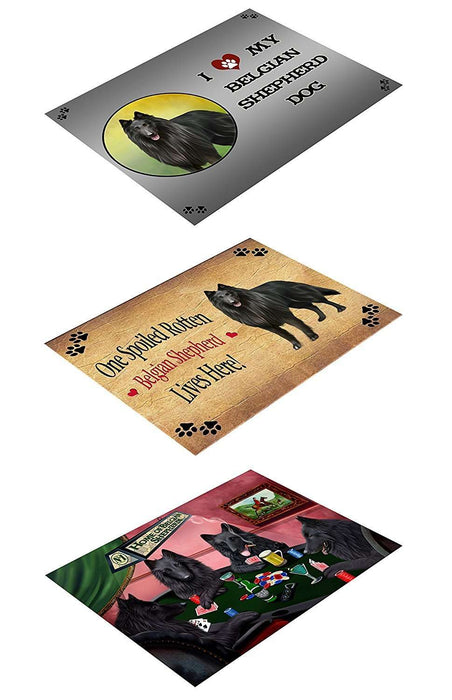 Belgian Shepherd Set of 3 Magnets Spoiled Rotten, Poker Dogs and I Love My Dog