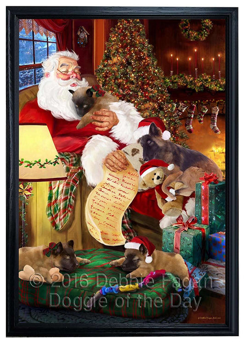 Belgian Tervuren Dog and Puppies Sleeping with Santa Framed Canvas Print Wall Art