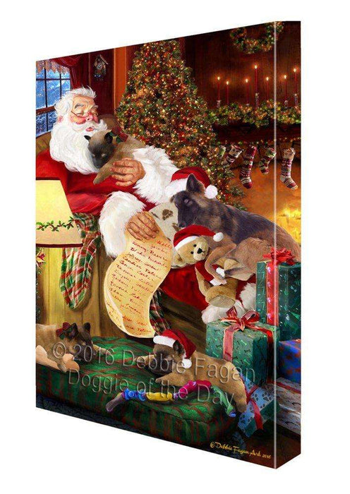 Belgian Tervuren Dog and Puppies Sleeping with Santa Painting Printed on Canvas Wall Art