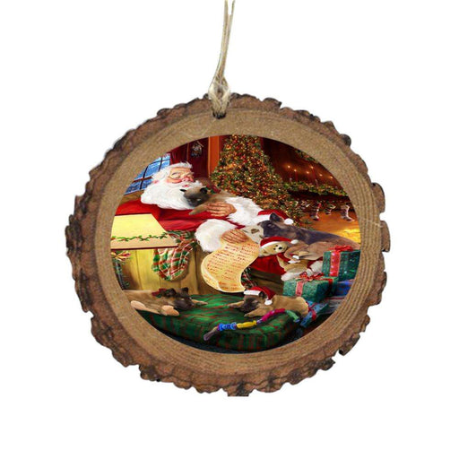 Belgian Tervurens Dog and Puppies Sleeping with Santa Wooden Christmas Ornament WOR49245
