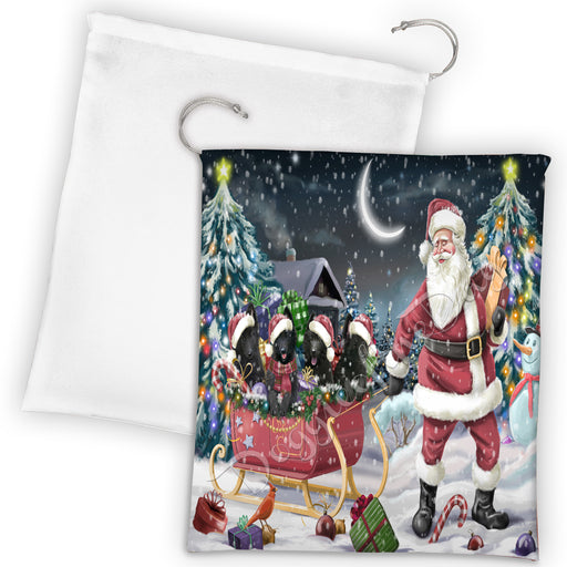 Santa Sled Dogs Christmas Happy Holidays Belgian Shepherd Dogs Drawstring Laundry or Gift Bag LGB48669