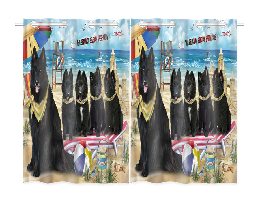 Pet Friendly Beach Belgian Shepherd Dogs Window Curtain