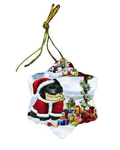 Belgium Shepherd Dog Christmas Snowflake Ceramic Ornament