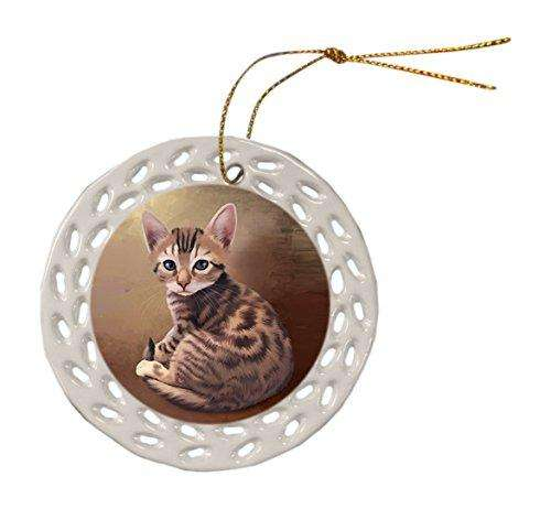 Bengal Cat Christmas Doily Ceramic Ornament