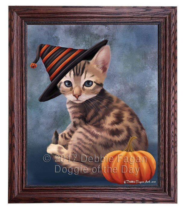 Bengal Cat Wearing Witch Hat with Pumpkin Framed Canvas Print Wall Art