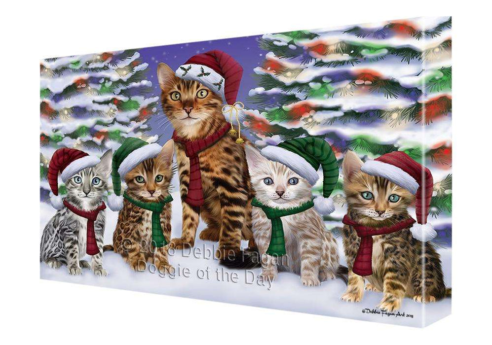 Bengal Cats Christmas Family Portrait in Holiday Scenic Background  Canvas Print Wall Art Décor CVS91151