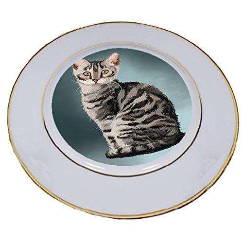 Bengal Silver Cat Porcelain Plate