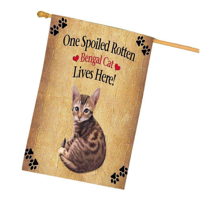 Bengal Spoiled Rotten Cat House Flag