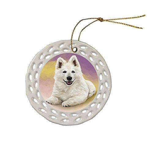 Berger Blanc Suisse Dog Christmas Doily Ceramic Ornament
