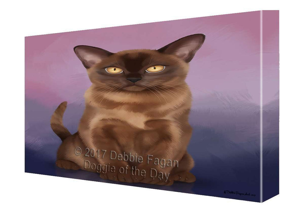 Bermese Sable Cat Painting Printed on Canvas Wall Art