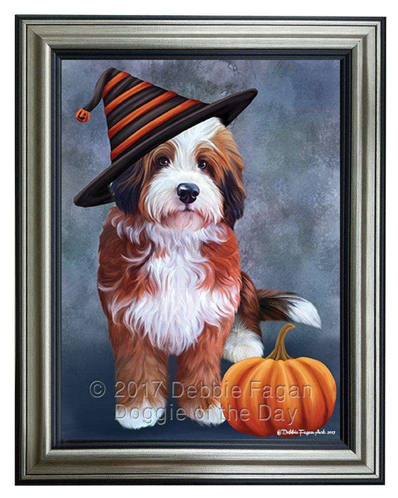 Bernedoodle Dog Wearing Witch Hat with Pumpkin Framed Canvas Print Wall Art