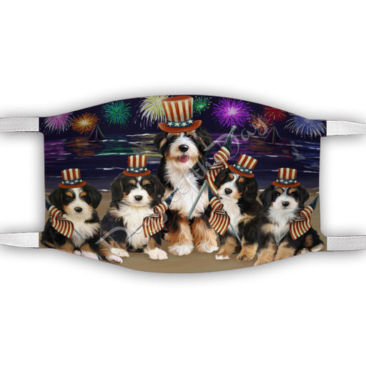 4th of July Independence Day Bernedoodle Dogs Face Mask FM49377