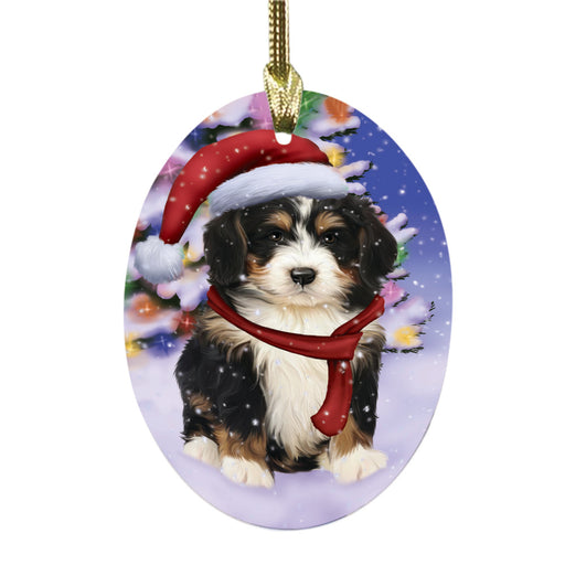 Winterland Wonderland Bernedoodle Dog In Christmas Holiday Scenic Background Oval Glass Christmas Ornament OGOR49517