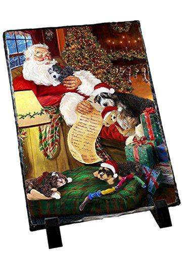 Bernedoodlle Dog and Puppies Sleeping with Santa Photo Slate D362