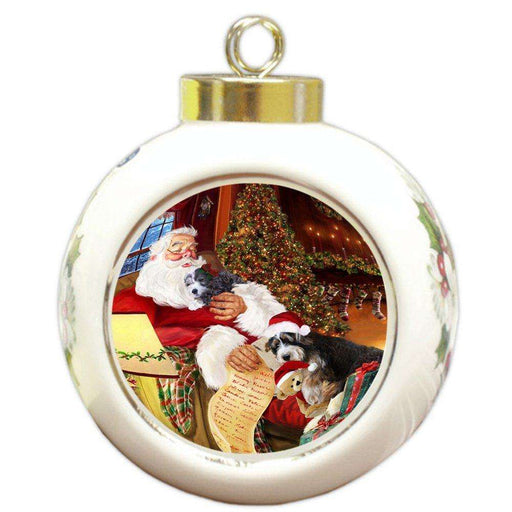 Bernedoodlle Dog and Puppies Sleeping with Santa Round Ball Christmas Ornament D471
