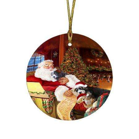 Bernedoodlle Dog and Puppies Sleeping with Santa Round Christmas Ornament D399