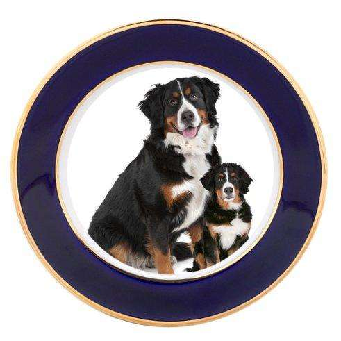 Bernese Mountain Dog Adult Puppy Porcelain Plate