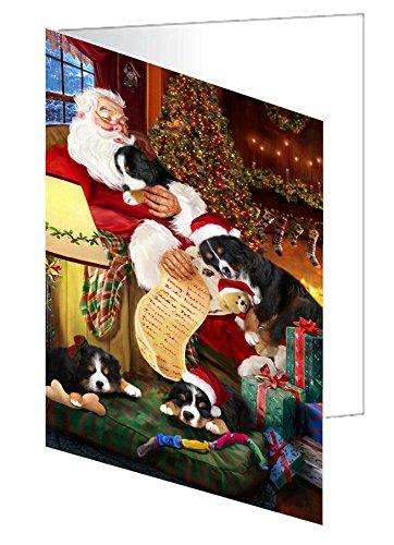 Bernese Mountain Dog and Puppies Sleeping with Santa Greeting Card