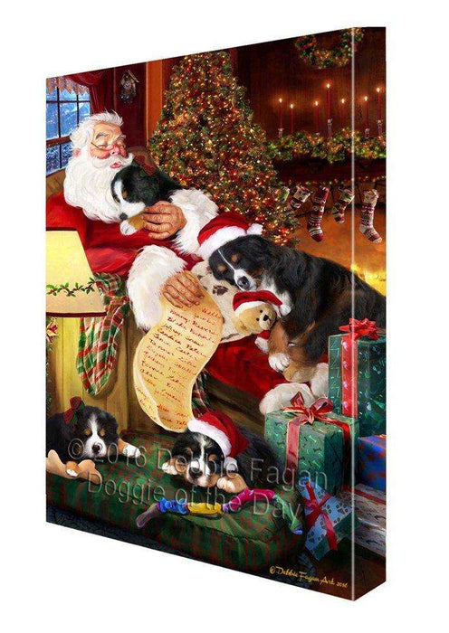 Bernese Mountain Dog and Puppies Sleeping with Santa Painting Printed on Canvas Wall Art