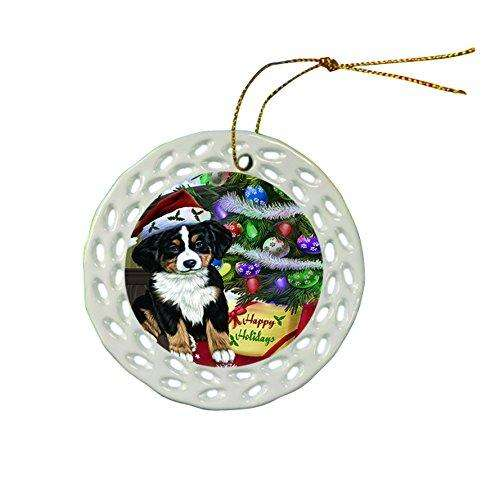 Bernese Mountain Dog Christmas Doily Ceramic Ornament
