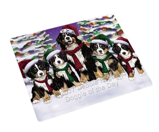 "Bernese Mountain Dog Christmas Family Portrait In Holiday Scenic Background Magnet Mini (3.5"" x 2"")"