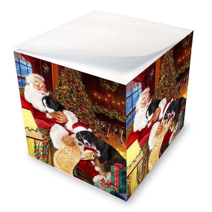 Bernese Mountain Dog with Puppies Sleeping with Santa Note Cube