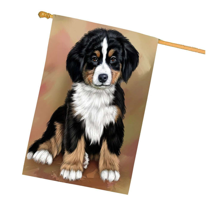 Bernese Mountain Puppy Dog House Flag