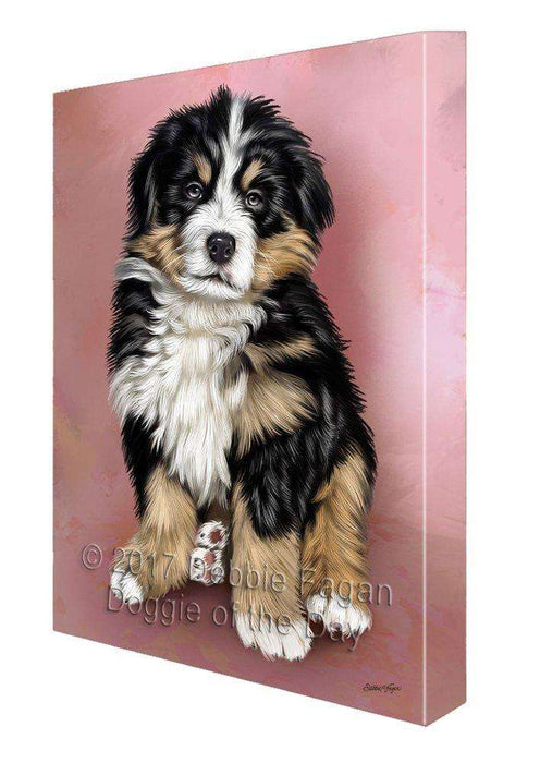 Bernese Mountain Puppy Dog Painting Printed on Canvas Wall Art Signed