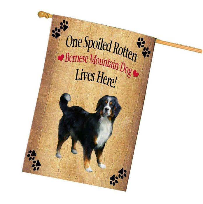 Bernese Mountain Spoiled Rotten Dog House Flag