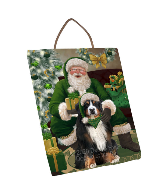 Christmas Irish Santa with Gift and Bernese Mountain Dog Wall Décor Hanging Photo Slate SLTH58314