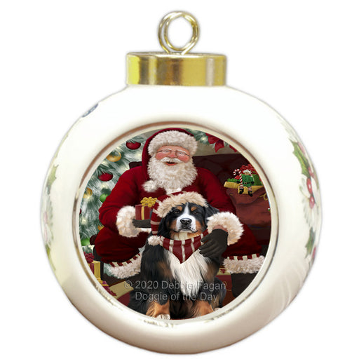 Santa's Christmas Surprise Bernese Mountain Dog Round Ball Christmas Ornament RBPOR58002