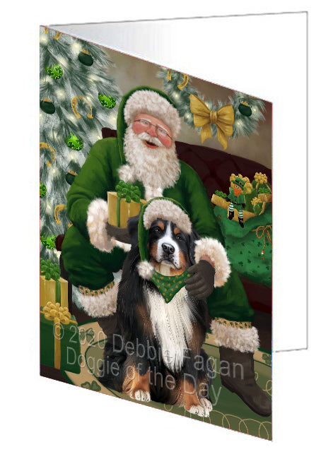 Christmas Irish Santa with Gift and Bernese Mountain Dog Note Card NCD75782