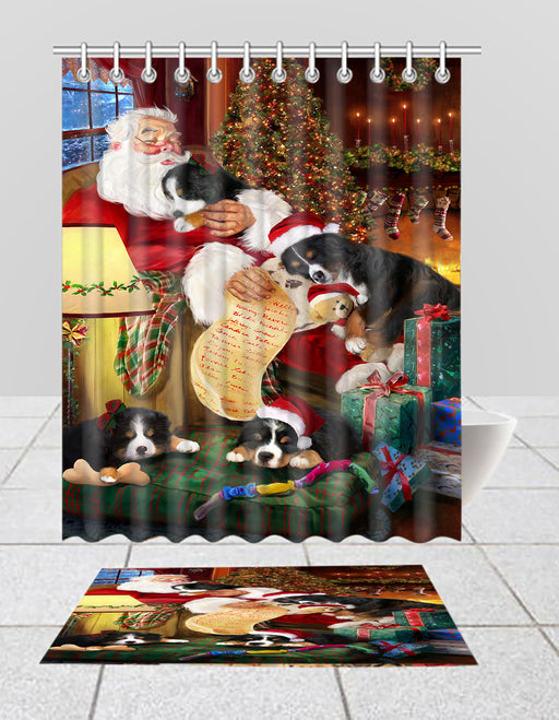Santa Sleeping with Bernese Mountain Dogs  Bath Mat and Shower Curtain Combo