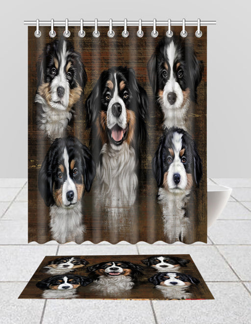Rustic Bernese Mountain Dogs  Bath Mat and Shower Curtain Combo