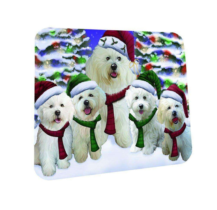 Bichon Dog Christmas Family Portrait in Holiday Scenic Background Coasters Set of 4