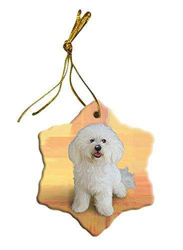 Bichon Dog Christmas Snowflake Ceramic Ornament