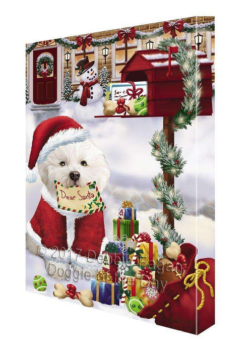 Bichon Frise Dear Santa Letter Christmas Holiday Mailbox Dog Painting Printed on Canvas Wall Art