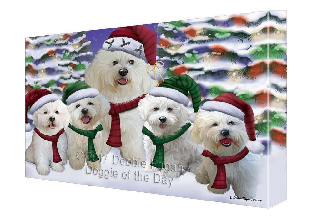 Bichon Frise Dog Christmas Family Portrait in Holiday Scenic Background Canvas Wall Art