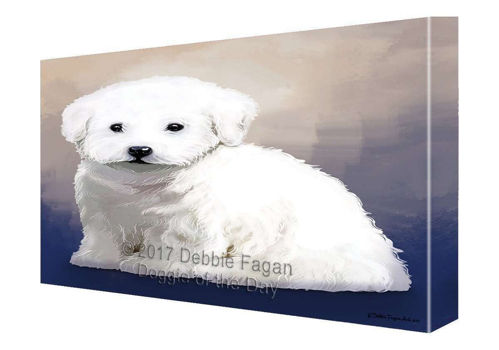 Bichon Frise Dog Painting Printed on Canvas Wall Art